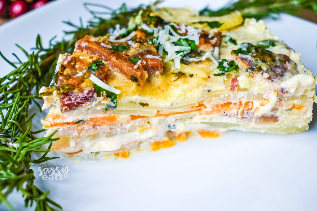Sweet N Sassy Eats - Instant Pot Bacon & Herb Scalloped Potatoes - layer heaven