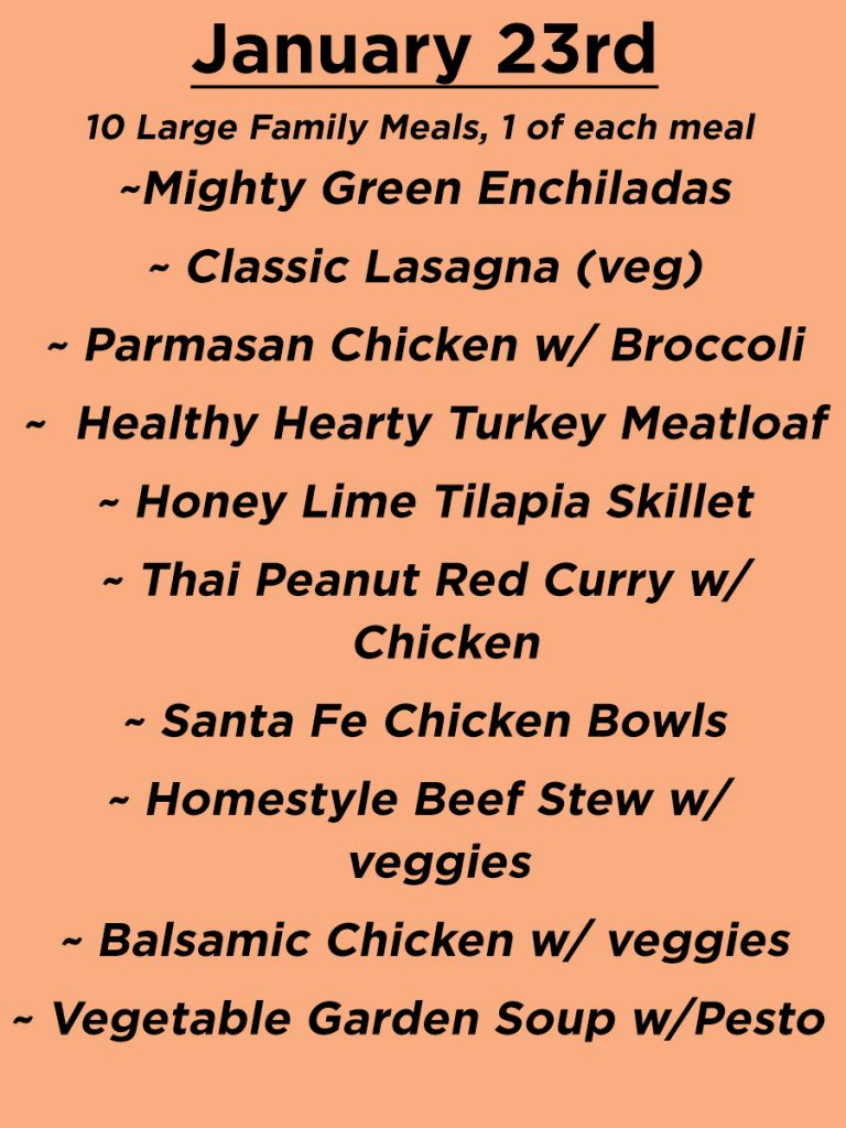 January 23rd Menu Large Family Meals - 10