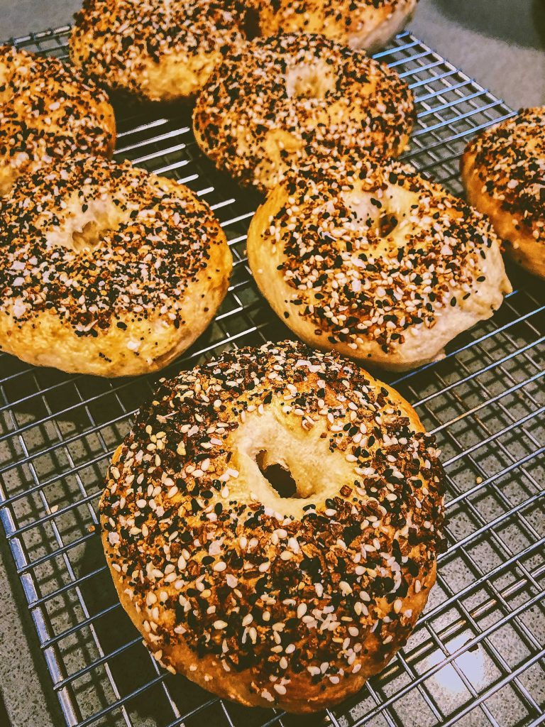 Chewy and fresh sourdough bagels